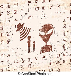 Alien hieroglyphics carved in stone.