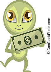 Alien holding money, illustration, vector on white background.
