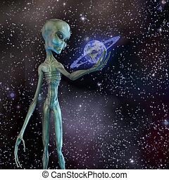 Alien holding ringed planet