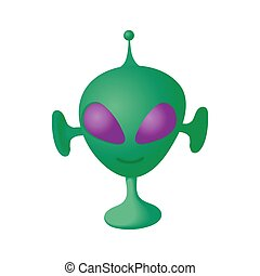 Alien icon in cartoon style