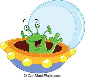 Alien - Cartoon alien waving hello