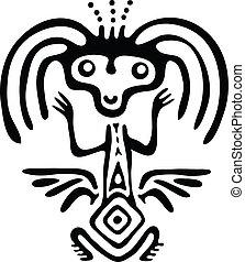 alien in native style, vector illustration - black alien in...