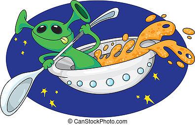 alien, in, ruimte