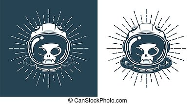 Alien in space helmet - vintage logo. Martian face in a spacesuit