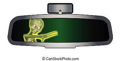 Depiction of a vehicle rear view mirror with an alien beast