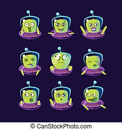 Alien In Ufo Emoticon Set