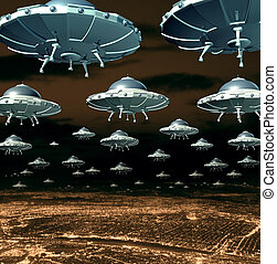 Alien invasion concept as a menacing group of invading flying saucers and spaceships over a city as science fiction ufo extraterrestrial hover crafts from outer space taking over the planet earth.