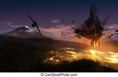 Alien invasion - Alien ship invasion illustration