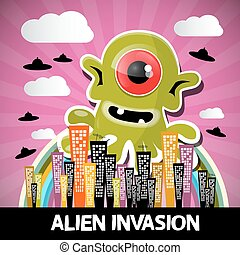 Alien Invasion Vector Cartoon with Big Green Monster and...