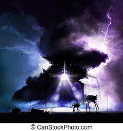 Alien invasion war - Mechanical black aliens invading earth...