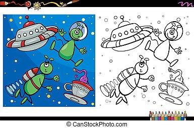 alien, kleuren, pagina, karakters