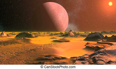 Alien Landscape in the Orange Light - Desert, rocky...