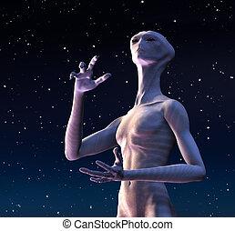 Alien Looks Heavenward - An alien wonders is there is any...