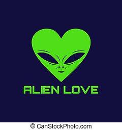 alien love logo vector illustration