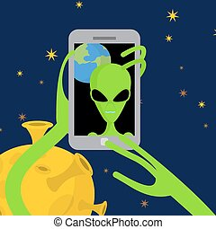 Alien makes selfie in space. Space alien takes pictures of herself on phone against a backdrop of planet Earth. Vector illustration.
