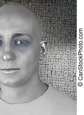 alien man futuristic silver skin extraterrestrial space -...