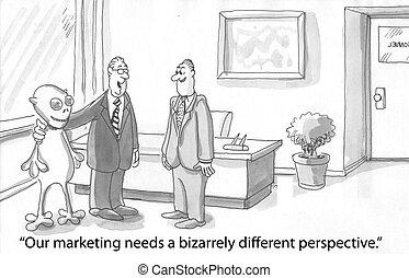Alien marketing - worker introduces a marketing alien