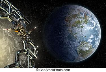 Alien mega structure approaching Earth.