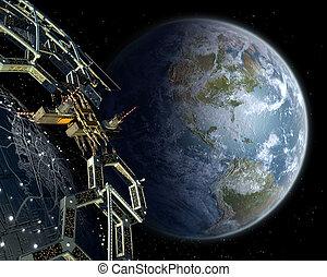 Alien mega structure colony in near Earth orbit.
