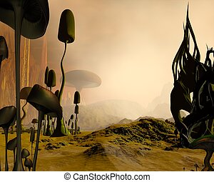Alien science fiction desert landscape dotted with giant mushrooms or toadstools and twisted rock formations in the mist, 3d digitally rendered illustration