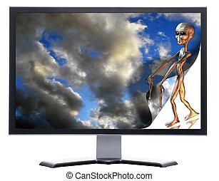 alien, monitor, hemel, het krullen, 3d