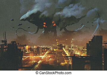 Alien monster invading night city - sci-fi scene,Alien...