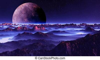 Alien Moon over the Misty Planet