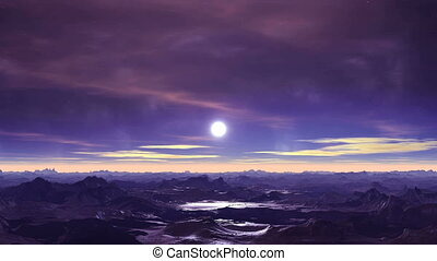 Alien Moonrise - Dark purple mountains covered with snow....