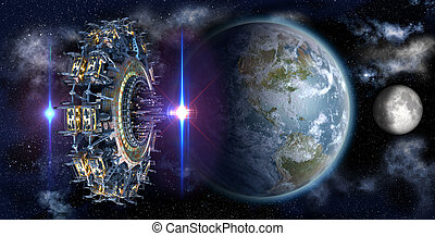 Alien mothership UFO nearing Earth, with the Moon rising and copy space for futuristic, space fantasy or interstellar travel cover images or backgrounds