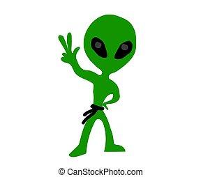 Alien on a white background. Cartoon. Vector