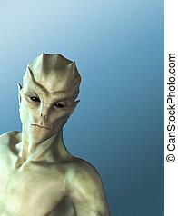 Alien on Blue
