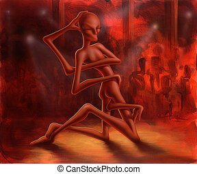 alien on stage - picture painted by me named Dance of the ...