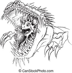 Alien Parasite Monster Sketch Art