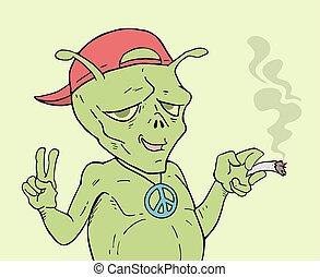 alien peace symbol draw