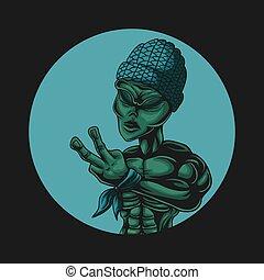 Alien Peace vector illustration