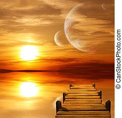alien, planeet, ondergaande zon