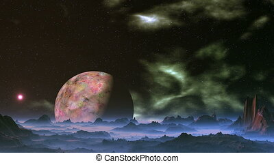 Alien Planet and Floating Nebula