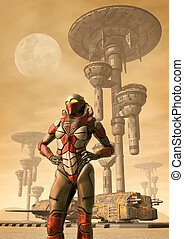 Alien planet colony and female pilot