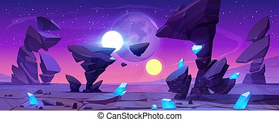 Alien planet landscape at night for space game - Alien ...