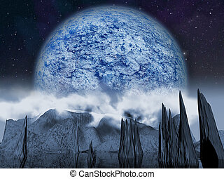 Alien planet. Large blue moon night rises over a cloudy landscape with a lake. - Artist impression of fantasy landscape