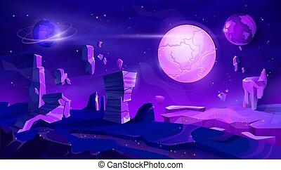 Alien planet neon landscape, space night vector