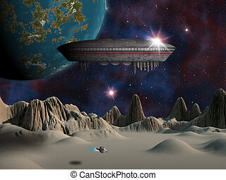 An alien space craft or UFO hovers over an alien moon with an earth-like planet in the background.