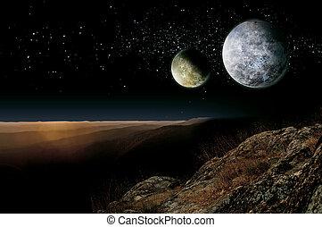 Alien Planet Two Moons