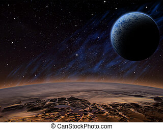 Alien planet with a close moon in orbit that has an atmosphere. Sci-fi Fantasy artwork.
