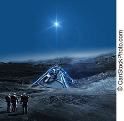 Alien planet with astronauts and an alien pyramid structure