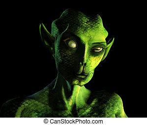 Alien Portrait - 3D render.