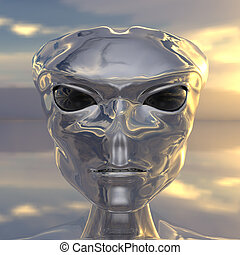 alien portrait from Roswell computer 3d  render