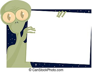 Alien poster - An extraterrestrial holds up a blank poster ...