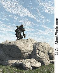 Alien Ranger Scout Exploring - Science fiction illustration...
