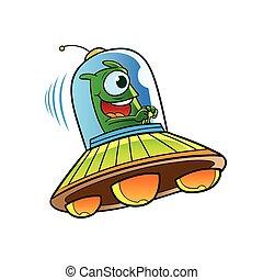 alien riding ufo